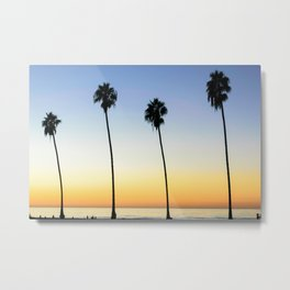 Palm Tree Sunset Metal Print