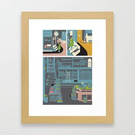 Bookstore cats Framed Art Print