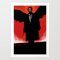 castiel Art Prints featuring Castiel by Duke Dastardly