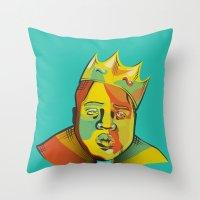 biggie Throw Pillows featuring Biggie by Monica O