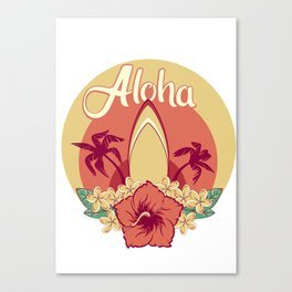 Aloha in hawaiian flowers bouquet of hibiscus and plumeria and palms with surfboard Canvas Print
