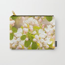 Apple tree branches with lovely flowers and buds on a pastel green background Carry-All Pouch