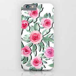 Soft Roses Beauty Bouquet_Teal & Pink in velvet White, watercolor  iPhone Case
