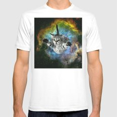 Space Cat MEDIUM Mens Fitted Tee White