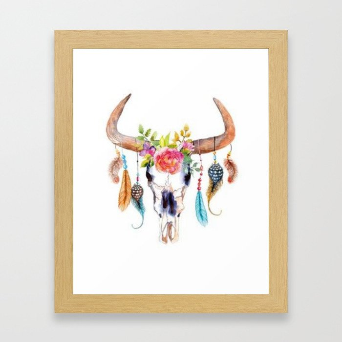 Floral and Feathers Adorned Bull Skull Framed Art Print