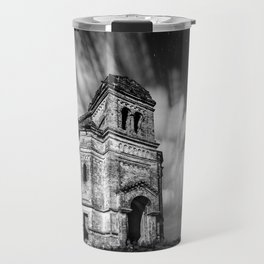 Abandoned Chapel under stars and streaks of clouds, Ukraine black and white photograph - photography Travel Mug
