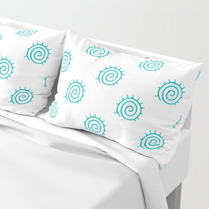 Aqua Spiral Abstract Pattern Pillow Sham