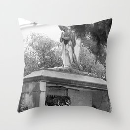 Old broken grave with angel Throw Pillow