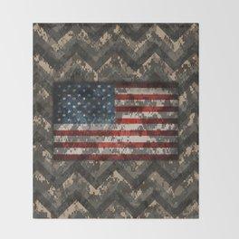 Digital Camo Patriotic Chevrons American Flag Throw Blanket