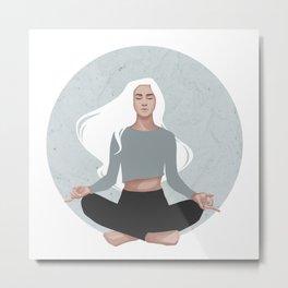 Yoga girl blue I Metal Print