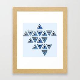 Blue Gradient Trillion Pattern Framed Art Print