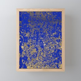 Royal Blue and Gold Patina Design Framed Mini Art Print