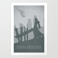 final fantasy Art Prints featuring Final Fantasy VII by [SilenceCorp.]