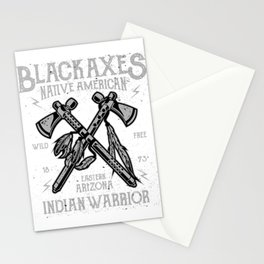Black Axes Native American Warrior Stationery Cards