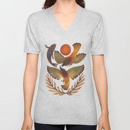 Fighting Birds Unisex V-Neck