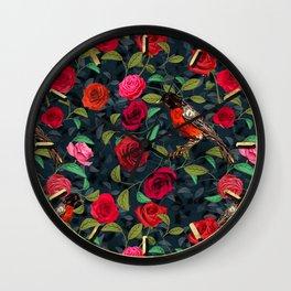 Roses and Robins Wall Clock