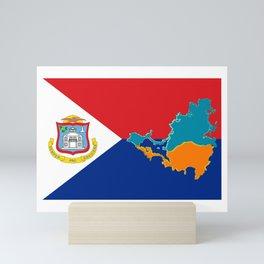 Sint Maarten Flag with Map Mini Art Print