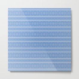 Cornflower Blue Geometric Abstract Pattern Metal Print