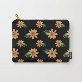 Yellow Flowers Black Pattern Carry-All Pouch