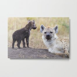 Hyena with young one Metal Print