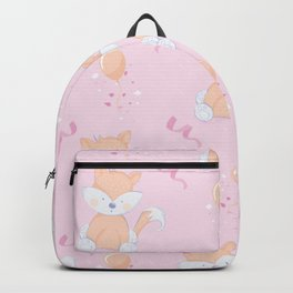 Happy Birthday Orange Fox Pink Background Pattern Backpack