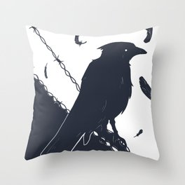 Raven on a Wire Throw Pillow
