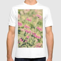 Pink flowers White MEDIUM Mens Fitted Tee