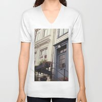 norway V-neck T-shirts featuring Norway II by Cynthia del Rio