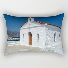 A small church above Chora which is the capital of Andros island, Greece Rectangular Pillow