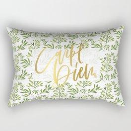 carpe diem - gold foil with green foilage Rectangular Pillow