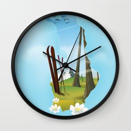 Finland map travel poster. Wall Clock