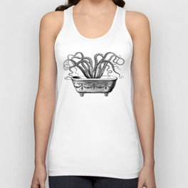 Tentacles in the Tub | Octopus | Black and White Unisex Tank Top