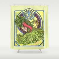 mucha Shower Curtains featuring Art nouveau. Spices and vegetables by Mari Anrua