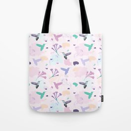Hummingbird and flower pastel petal pattern Tote Bag