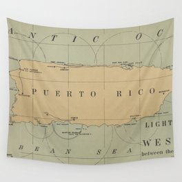 Vintage Lighthouse Map of Puerto Rico (1898) Wall Tapestry