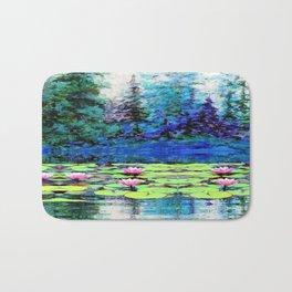 BLUE SPRUCE GREEN LILY PADS LAKE ART Bath Mat
