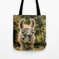 llama Tote Bags featuring Llama by LudaNayvelt