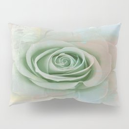 Elegant Painterly Mint Green Rose Abstract Pillow Sham