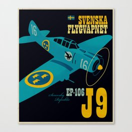 Swedish EP-106 airplane poster ShreddyStudio Dennis Weber Canvas Print