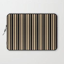 Tan Brown and Black Vertical Var Size Stripes Laptop Sleeve