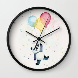 Birthday Panda Balloons Cute Animal Watercolor Wall Clock
