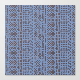 Mudcloth No. 2 in Dusty Blue + Taupe Brown Canvas Print