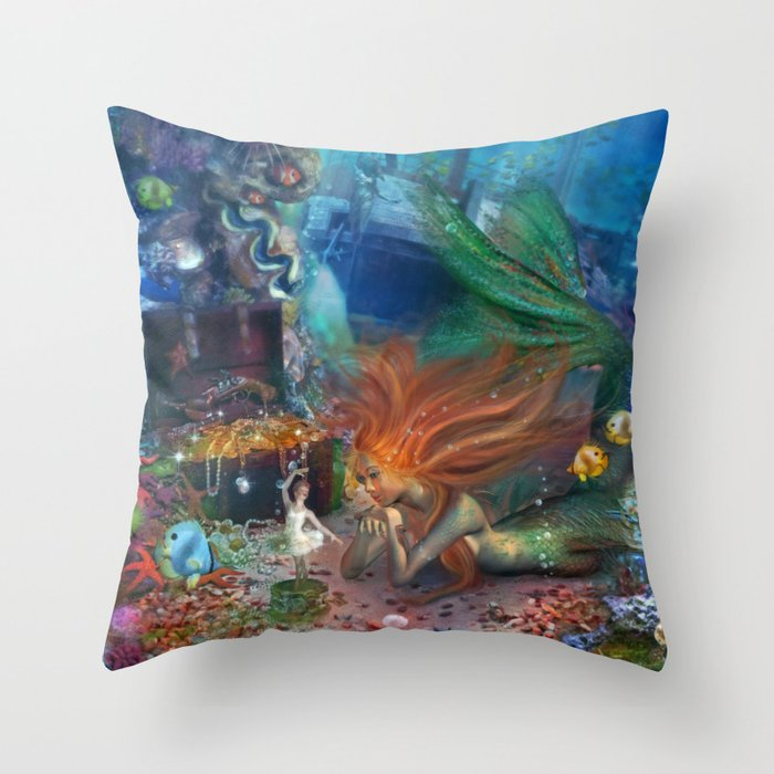 The Mermaid's Treasure Throw Pillow