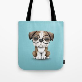 Cute English Bulldog Puppy Wearing Glasses on Blue Tote Bag
