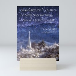 Snowflakes Drifting down haiku, snowy church steeple Mini Art Print