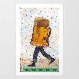 Walking Beer Art Print