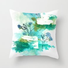 Dance in the Rain - India ink and acrylic abstraction with floral detail with greens and blues  Throw Pillow