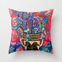 Persephone Painting - Bouquet of Iris and Strelitzia Flowers in Greek Horse Vase Against Coral Pink Throw Pillow