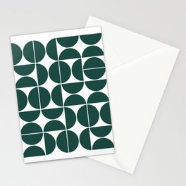 Mid Century Modern Geometric 04 Dark Green Stationery Cards