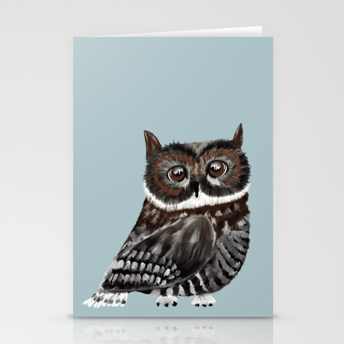 Adorable Owl In Blue Stationery Cards